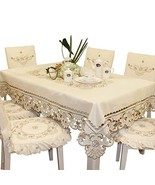 Brown Flower Embroidered lace Cream Tablecloth Square - $8.04
