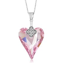 Sterling Silver Rosaline Pink Heart Pendant Created with Crystals - $138.92
