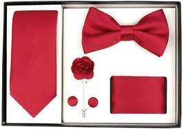 Berlioni Men's Handmade Microfiber Tie Bowtie Lapel Hanky Cufflinks Gift Box Set image 9