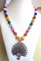 Indian Bollywood Style Oxidized Pendant Pearls Necklace Women's Fashion Jewelry image 3