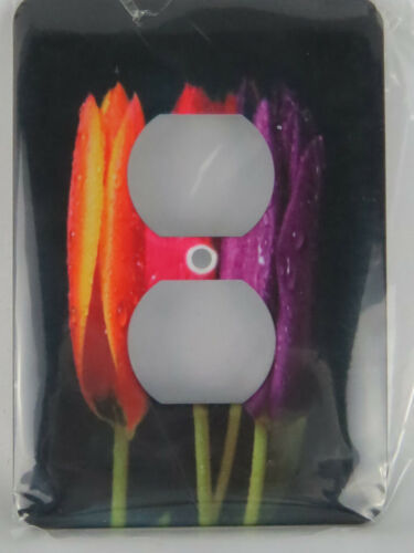 Primary image for Outlet Cover 3d Rose Orange Red N Purple Dew Covered Tulips 2 Plug Outlet Cover