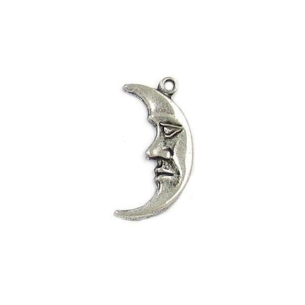 CRESCENT MOON FINE PEWTER PENDANT CHARM - 24mm x 12mm  x 2mm