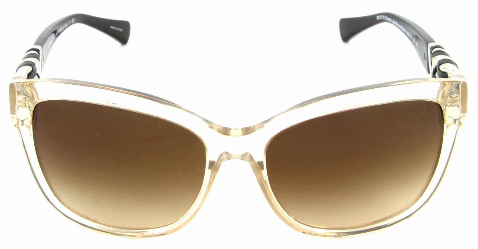 Coach Sunglasses HC8156Q 5323/13 Crystal Light Brown Black / Brown Gradient Lens