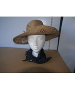 Ladies Large Beige Straw Hat w/Flower Accents /flawed + scarf WWJD & I &... - $13.70