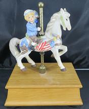 Fine Grain Porcelain ALDON Carousel Horse with BOY Music Box Hand Painted - $40.00