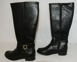 Soda HIROS Black Zip Up Riding Boot Gold Colored Accents Size Six image 5