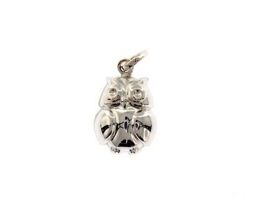 18K WHITE GOLD ROUNDED LUCKY OWL PENDANT CHARM 22 MM SMOOTH MADE IN ITALY