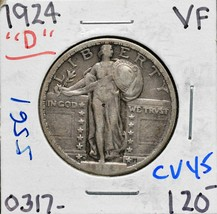 1924D Standing Liberty Silver Quarter 25¢ Coin Lot CV45