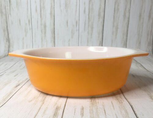 Pyrex Ovenware Casserole Dish 043 1.5 QT Sunflower Daisy Orange Used Made in USA