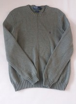 Polo Ralph Lauren Mens Crewneck Sweater Med Green Cotton Knit - $20.00
