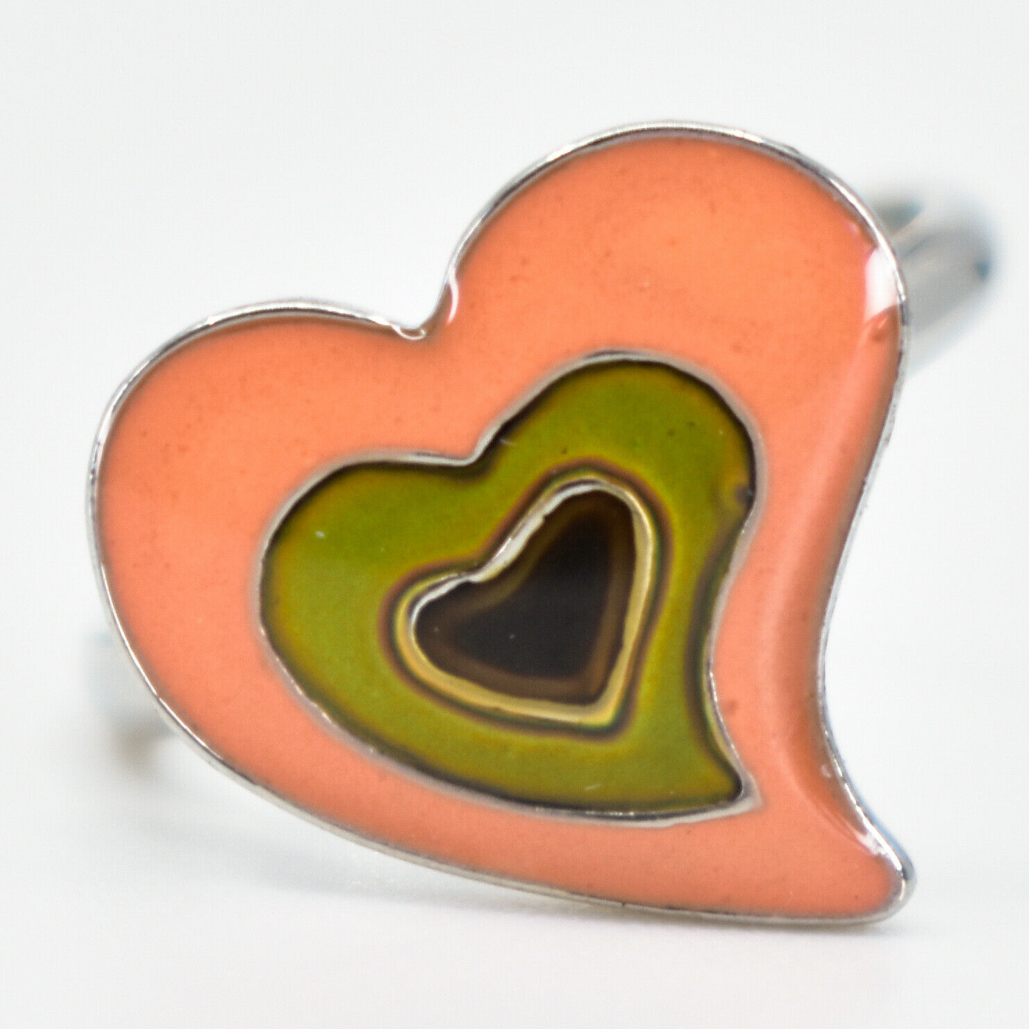 Kid's Fashion Silver Tone Heart Color Changing Fashion Adjustable Mood Ring