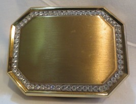 Vintage Compact Jeweled  Mirror Brushed Gold  Rhinestones Avon - $10.00