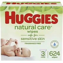 HUGGIES Natural Care Unscented Baby Wipes, Sensitive, 3 Refill Packs (62... - $22.64