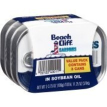 Beach Cliff Sardines in Soybean Oil Value pack contains 3 cans - $18.00