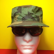 US Army Woodland BDU Hat Size 7-1/8 With Ear Flaps Military Collectible Gift - $9.50