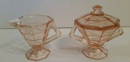 Cracked Ice Pink Depression Glass Creamer & Sugar Bowl With Lid Indiana ... - $225.00