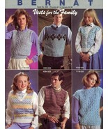 Vests for the Family Bernat #533 Knitting Pattern 29 Pages size 8-18 & 3... - $3.57