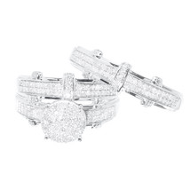 14K White Gold Over Round Diamond Engagement Bridal Wedding Ring Trio Se... - $280.49
