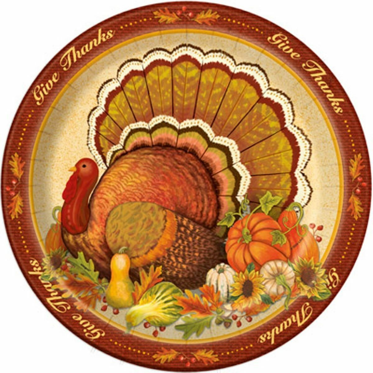 "Give Thanks 8 Ct Dinner Banquet Plates 10.25"" Turkey Thanksgiving"