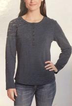 Vintage America Women's Blouse, Black/Quiet Harbor Stripe, Medium - NEW - $19.99
