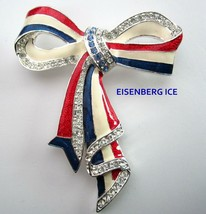 Rare EISENBERG ICE Patriotic Enamel Red White Blue Flag Ribbon Brooch Pin - $99.99