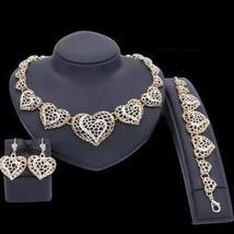 Women's Crystal Heart Pendant Necklace Jewelry Set