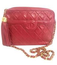 Vintage Chanel red lambskin camera bag, chain shoulder bag with fringe a... - $2,082.00