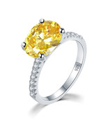 Solid 925 Sterling Silver 4ct Anniversary Luxury Ring Yellow Canary Oval... - $139.99