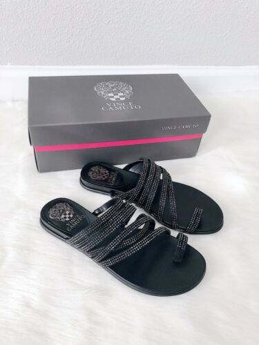 Primary image for ✨New VINCE CAMUTO Edwinny Embellished Slide Sandals Black Womens Size 7M $69