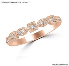 0.20 Carat Genuine Diamond Stackable Band in 14k Rose Gold