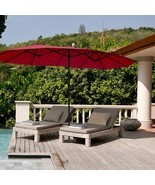 15' Twin Patio Umbrella Double-Sided Outdoor Market Umbrella without Bas... - $183.42