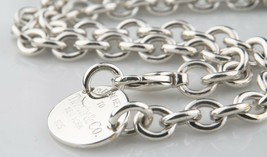"""Tiffany & Co.Argent Sterling """" Return To """" Ovale Collier Étiquette 15.5 ... - $363.82"""