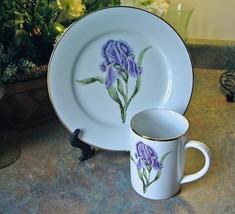 Muirfield Golden Leaf Floral Plate&Mug Set- Iris - $14.99