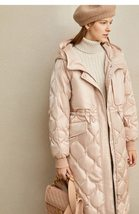 Women's European Brand Designer Thick Hooded Solid Quilted Down Winter Coat image 4