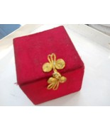Vintage Red Felt Padded Square Box, Jewelry, Storage Stash Collectible B... - $9.99
