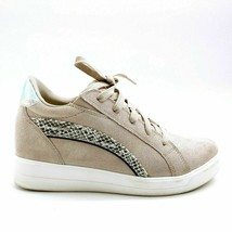Ryka Womens Viv Leather Lace Up Snake Print Wedge Sneaker Shoes Cloud Grey 8W - $44.54