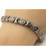 ITALY 925 Sterling Silver - Vintage Geometric Tribal Tennis Bracelet - B... - $68.14
