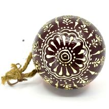 Asha Handicrafts Hand Painted Mango Wood Floral Holiday Christmas Ornament  image 3