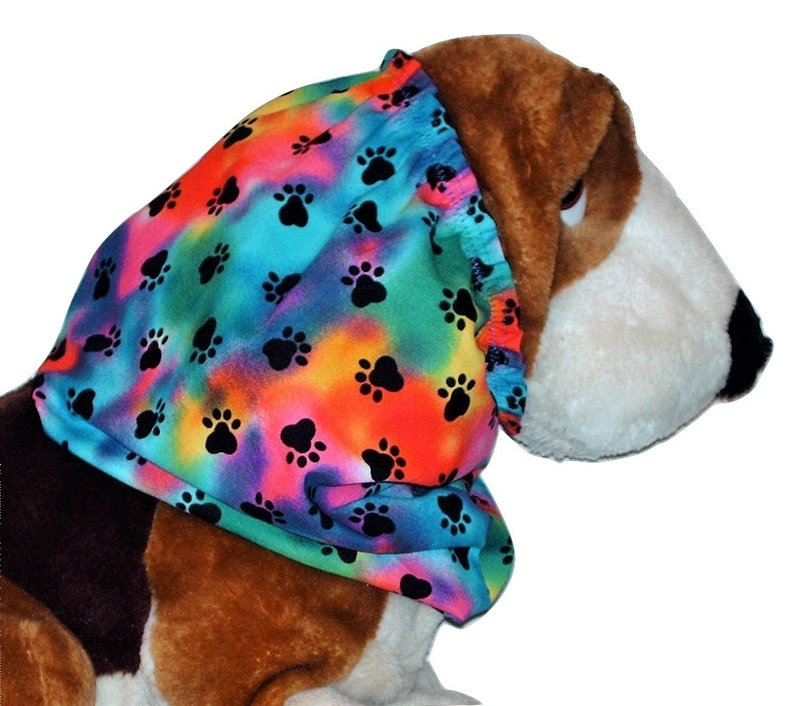 Dog Snood Rainbow Tie Dye Black Paw Prints Cotton by Howlin Hounds Size Large