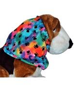 Dog Snood Rainbow Tie Dye Black Paw Prints Cotton by Howlin Hounds Size ... - $12.50