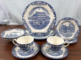 Johnson Brothers HERITAGE HALL Blue 10 Piece Dinnerware Set ELEGANT! - $49.49