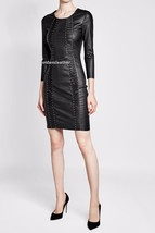 New Women Sexy Genuine Lambskin Leather Evening Cocktail Ladies Party Dr... - $136.32