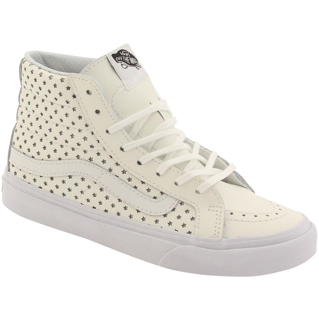 Vans SK8 HI SLIM PERF STARS WHITE Skate Shoes MENS 6.5 WOMENS 8 CLASSICS NIB