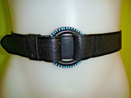 "LAUREN RALPH LAUREN 1 ½"" SOUTHWEST LEATHER & TURQUOISE BEADED BELT 27"" –... - $14.01"