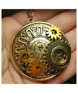 Steampunk Necklace, Compass, Clock, Gears, Skeleton Key Necklace - $5.89