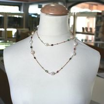 """18K ROSE GOLD LONG NECKLACE ROLO CHAIN, BIG 12mm PEARLS & TOURMALINE DROPS 35.4"""" image 4"""