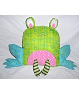 Joanns Fabric Frog Pillow Plush Stuffed Animal Green Pink Flowers Room D... - $24.73