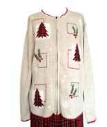 80s Vintage Christmas Sweater Cardigan Heathered Tan Tartan Xmas Tree Ho... - $24.00