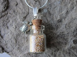 PINK BERMUDA BEACH SAND BOTTLE NECKLACE, ST. CATHERINE'S BEACH - SEA TURTLE - $24.81
