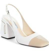 PRADA Cap Toe Slingback Pump Shoes Size 38 MSRP: $790.00 - $494.99